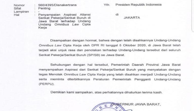 Surat Ridwan Kamil